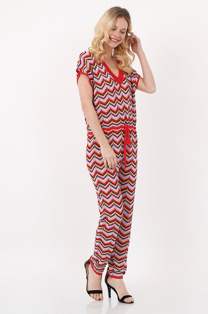 SPS2391-RED METALLIC CHEVRON KNIT JUMPSUIT view 2