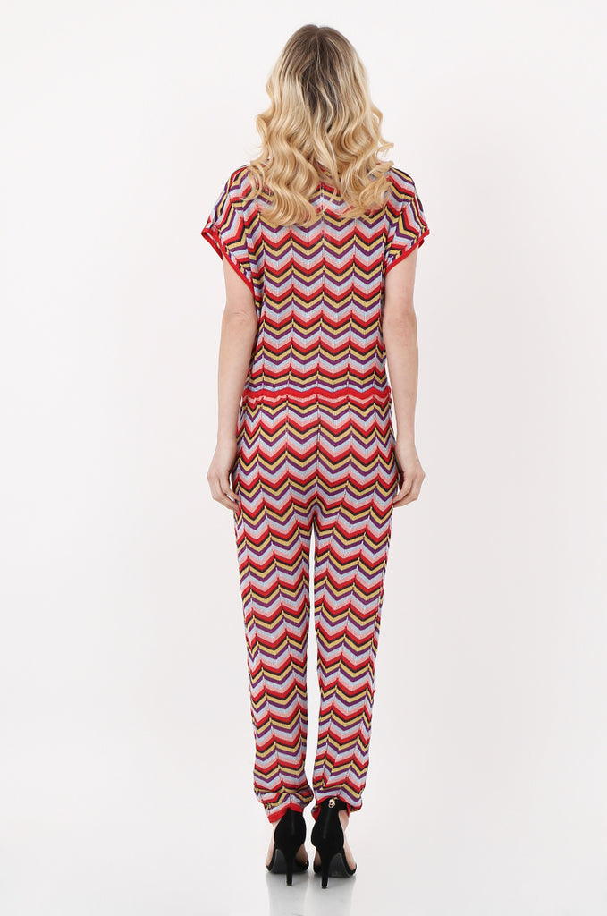SPS2391-RED METALLIC CHEVRON KNIT JUMPSUIT view 3