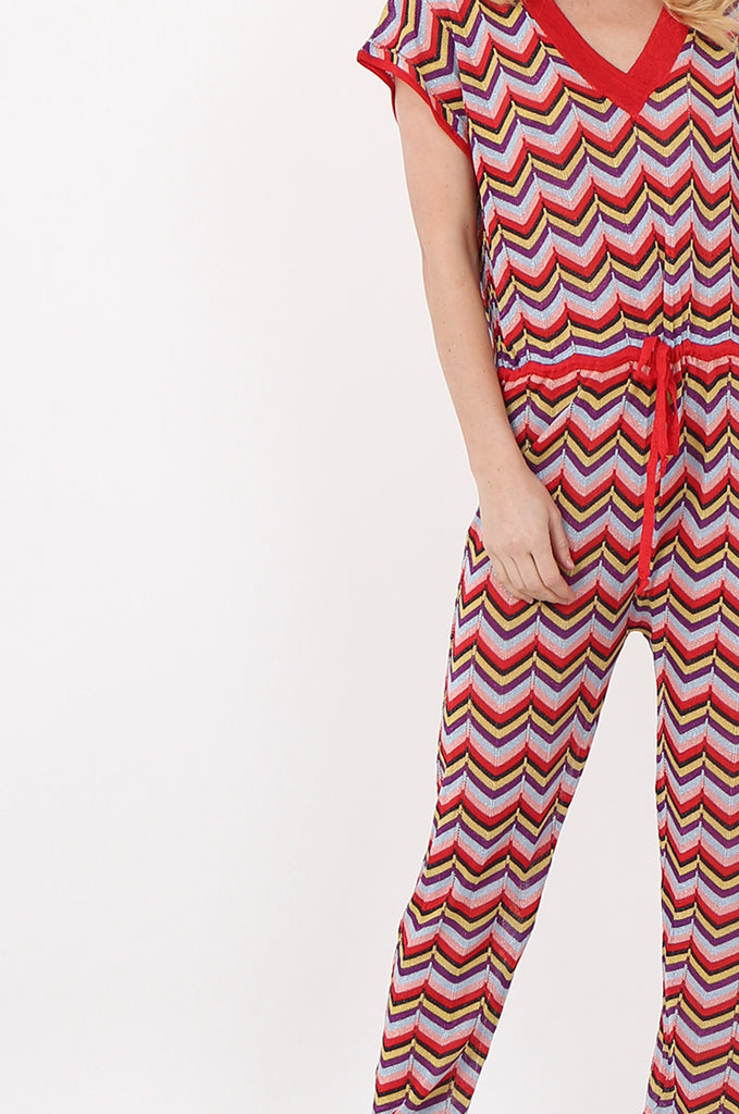 SPS2391-RED METALLIC CHEVRON KNIT JUMPSUIT view 4