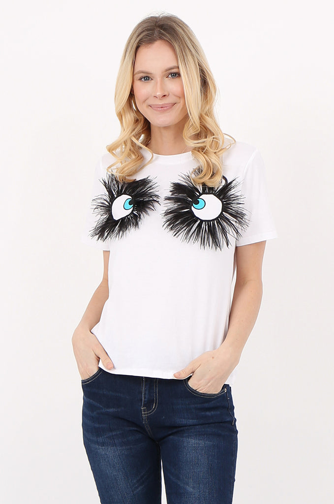 SPS2392-WHITE EYE & FEATHER DETAIL T-SHIRT