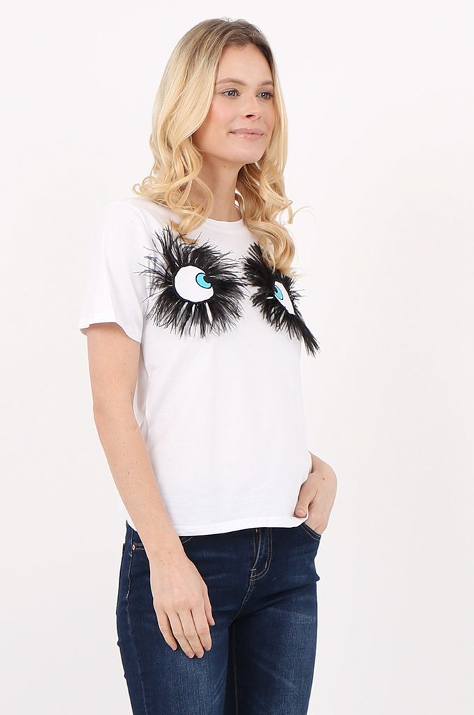 SPS2392-WHITE EYE & FEATHER DETAIL T-SHIRT view 2