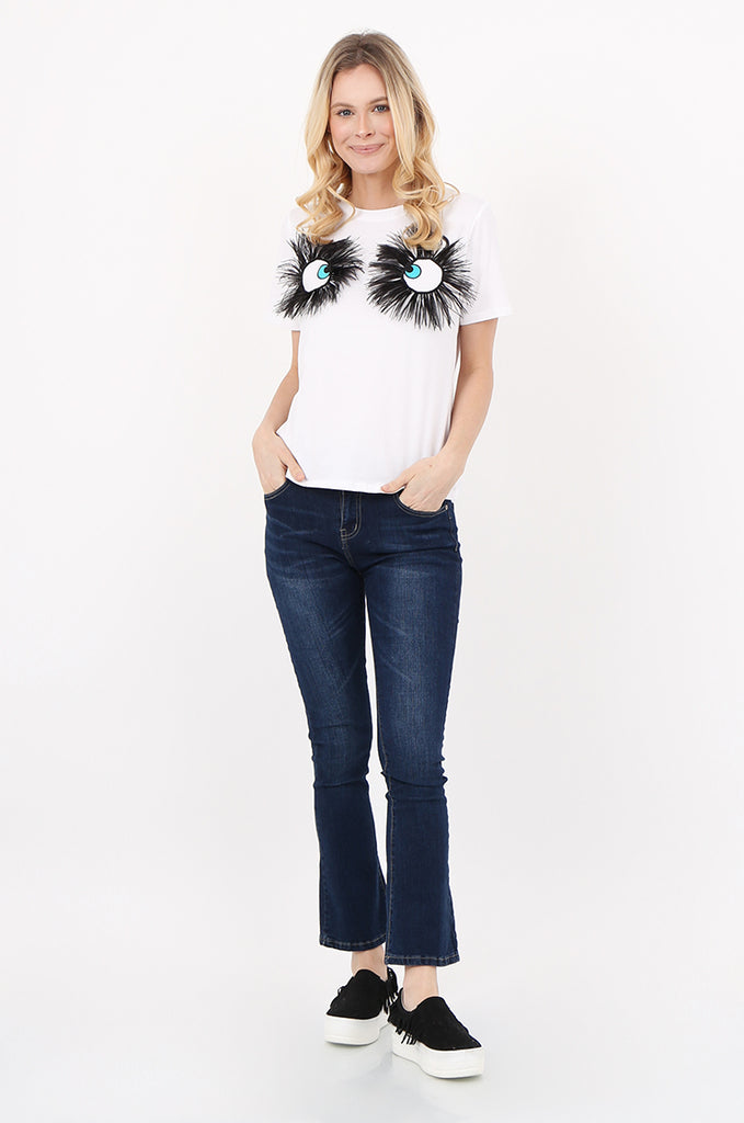 SPS2392-WHITE EYE & FEATHER DETAIL T-SHIRT view 4