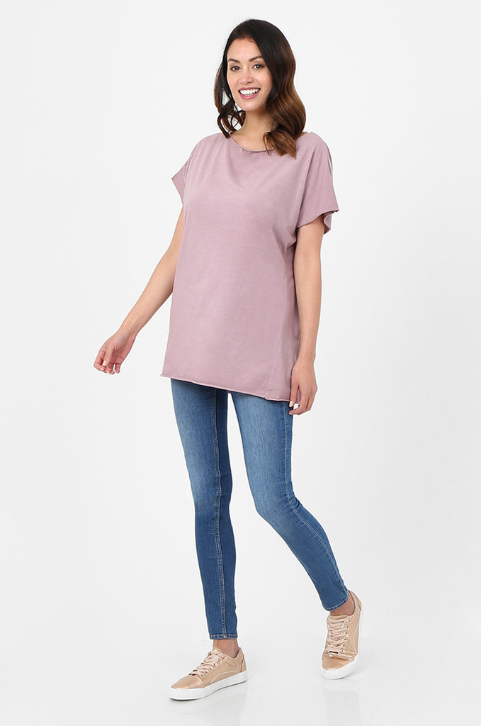 SPS2703-PINK BOAT NECK BATWING T-SHIRT view 4
