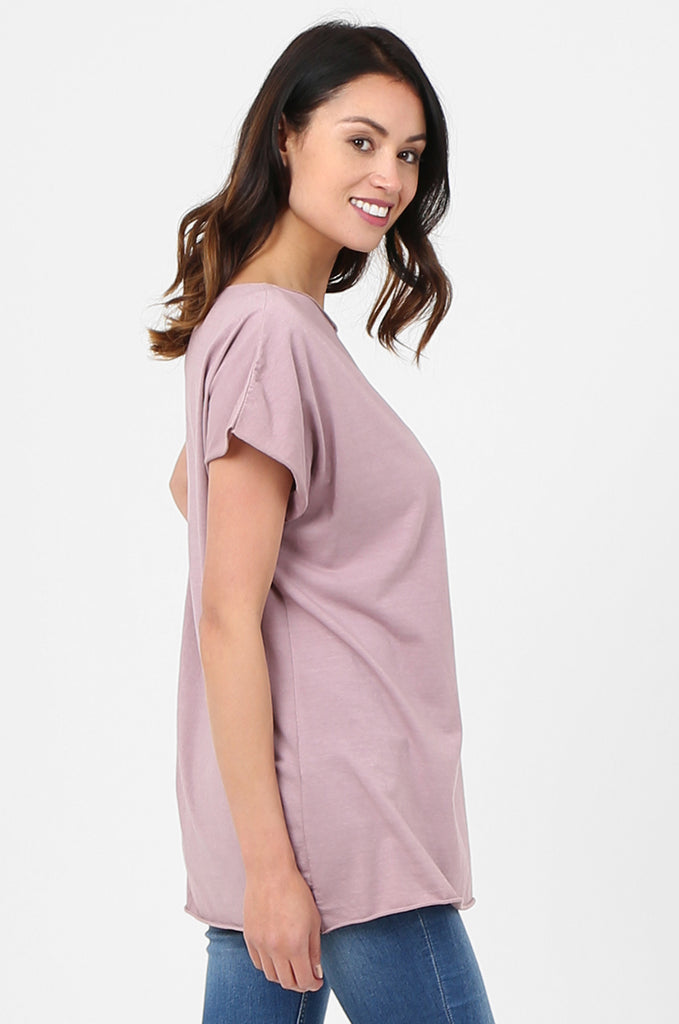 SPS2703-PINK BOAT NECK BATWING T-SHIRT view 2