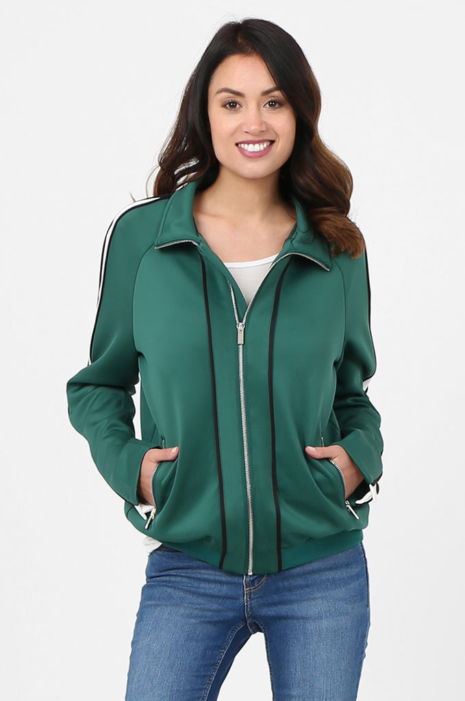 SPS2732-GREEN STRIPE SLEEVE ZIP FRONT TRACK SUIT JACKET view main view