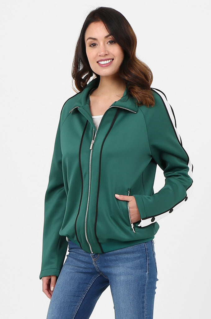 SPS2732-GREEN STRIPE SLEEVE ZIP FRONT TRACK SUIT JACKET view 2
