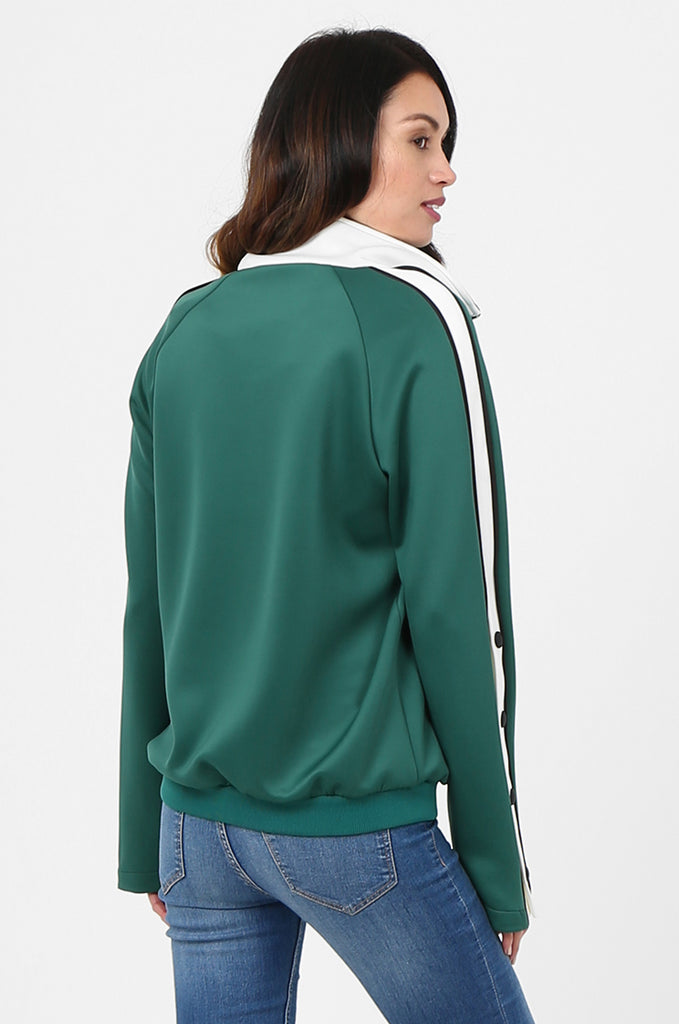 SPS2732-GREEN STRIPE SLEEVE ZIP FRONT TRACK SUIT JACKET view 3