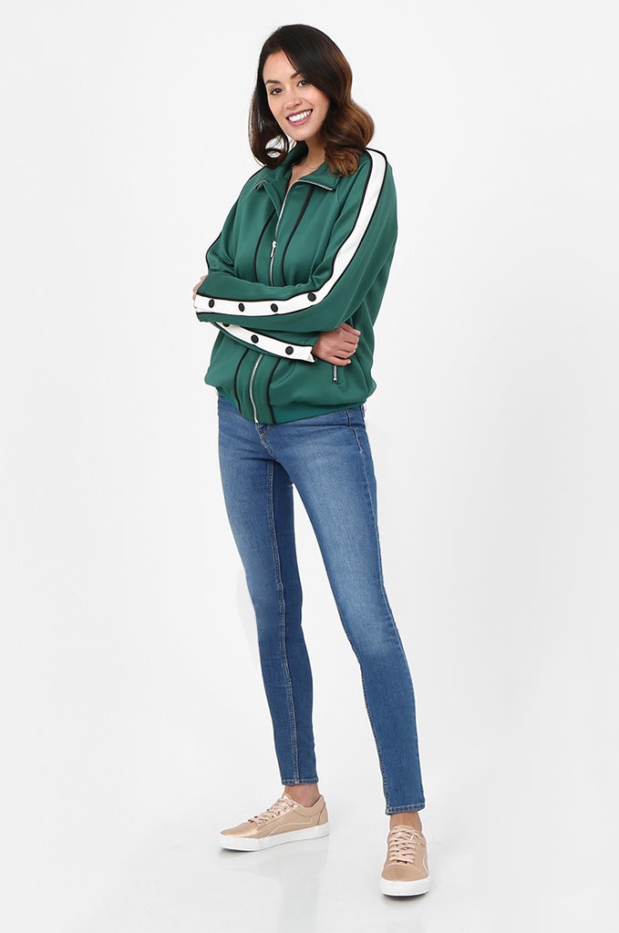 SPS2732-GREEN STRIPE SLEEVE ZIP FRONT TRACK SUIT JACKET view 4