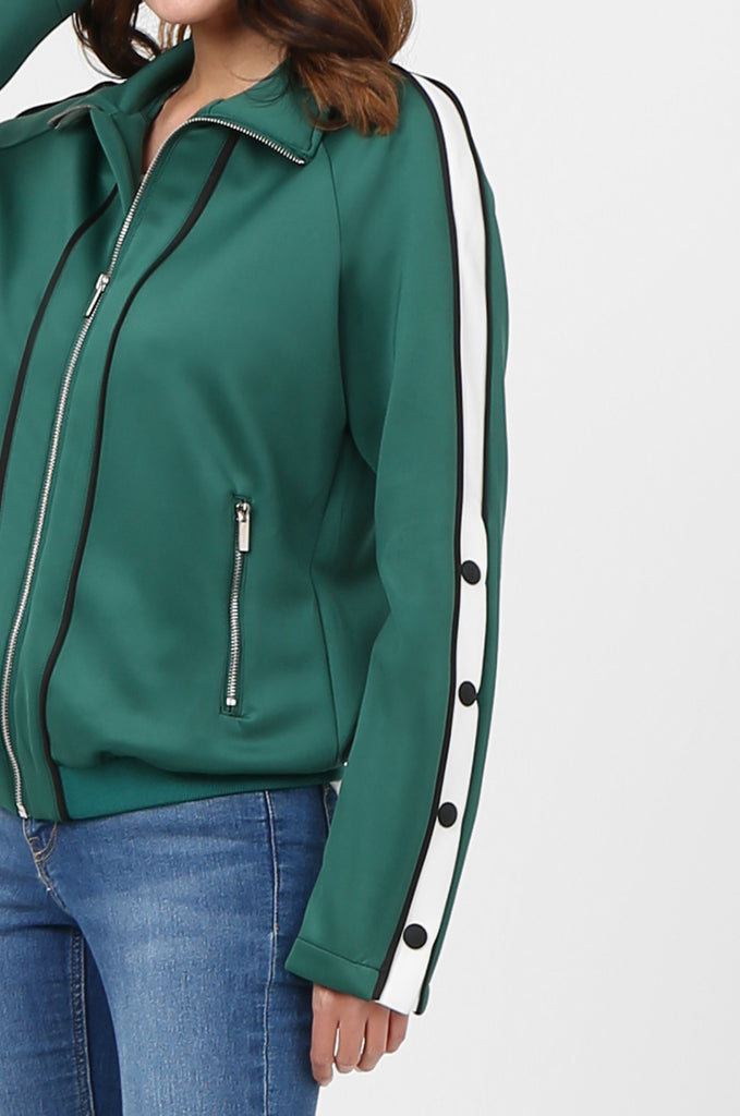 SPS2732-GREEN STRIPE SLEEVE ZIP FRONT TRACK SUIT JACKET view 5