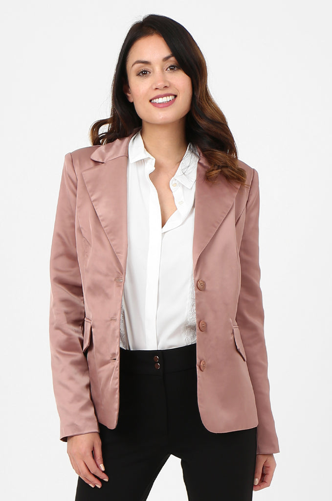 SPS2750-PINK SATIN FLAP POCKET BUTTON FRONT BLAZER