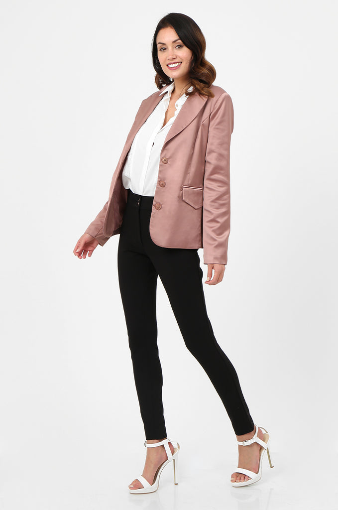SPS2750-PINK SATIN FLAP POCKET BUTTON FRONT BLAZER view 4