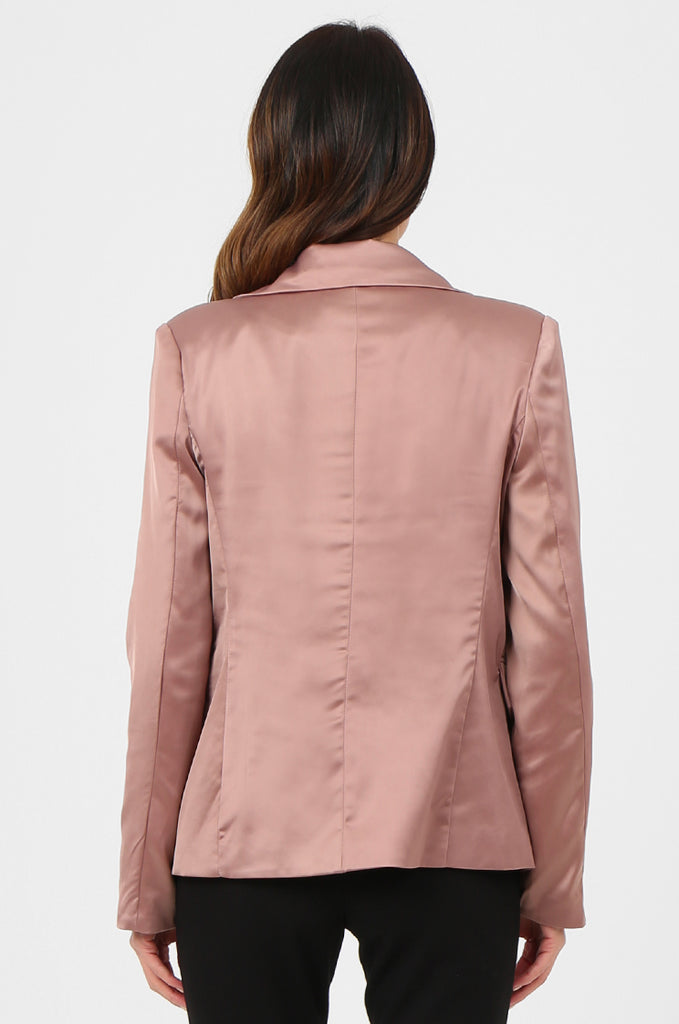 SPS2750-PINK SATIN FLAP POCKET BUTTON FRONT BLAZER view 3