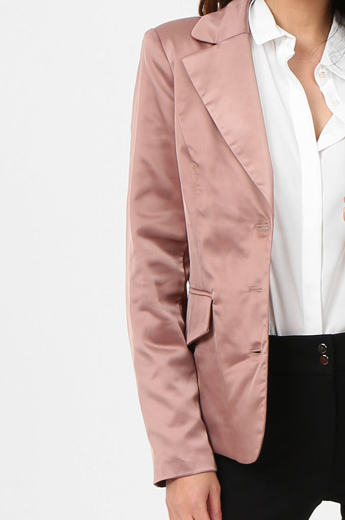 SPS2750-PINK SATIN FLAP POCKET BUTTON FRONT BLAZER view 5