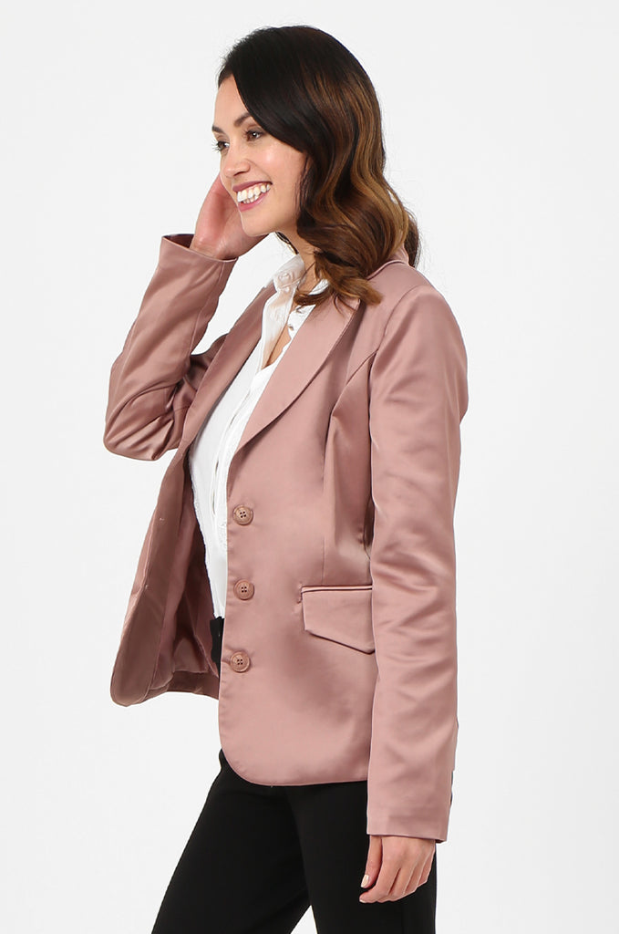 SPS2750-PINK SATIN FLAP POCKET BUTTON FRONT BLAZER view 2