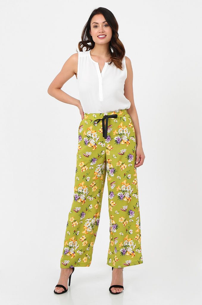 SPS2752-GREEN FLORAL PRINT WIDE LEG TROUSERS