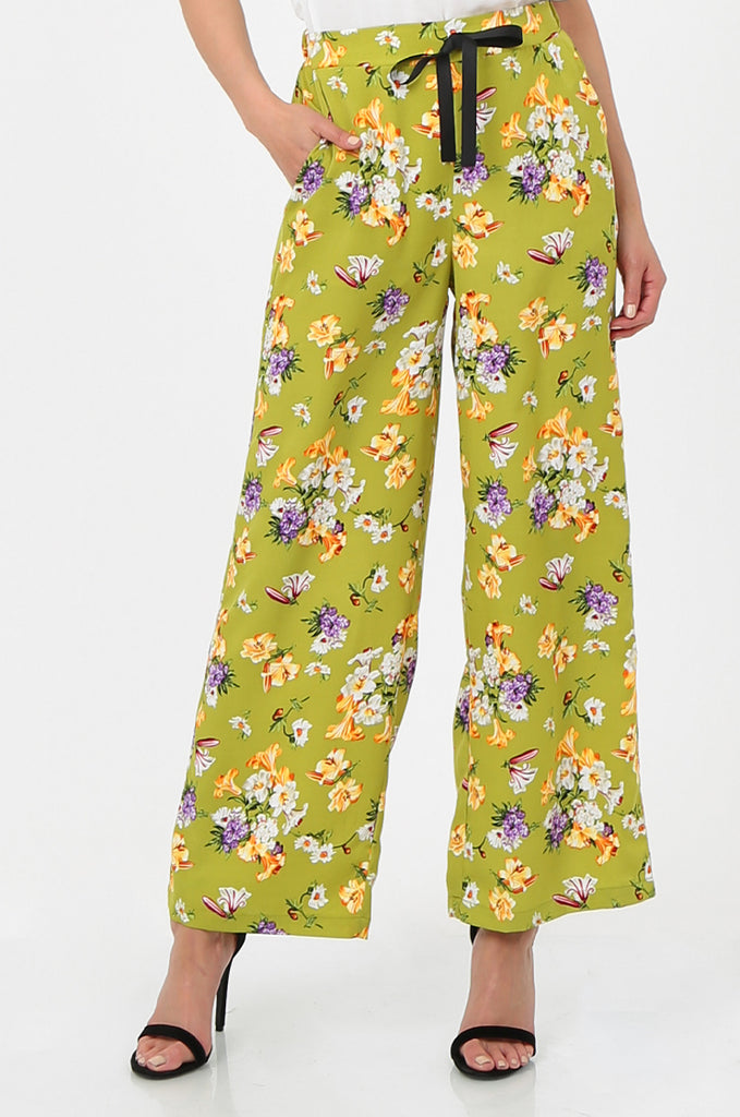 SPS2752-GREEN FLORAL PRINT WIDE LEG TROUSERS view 4