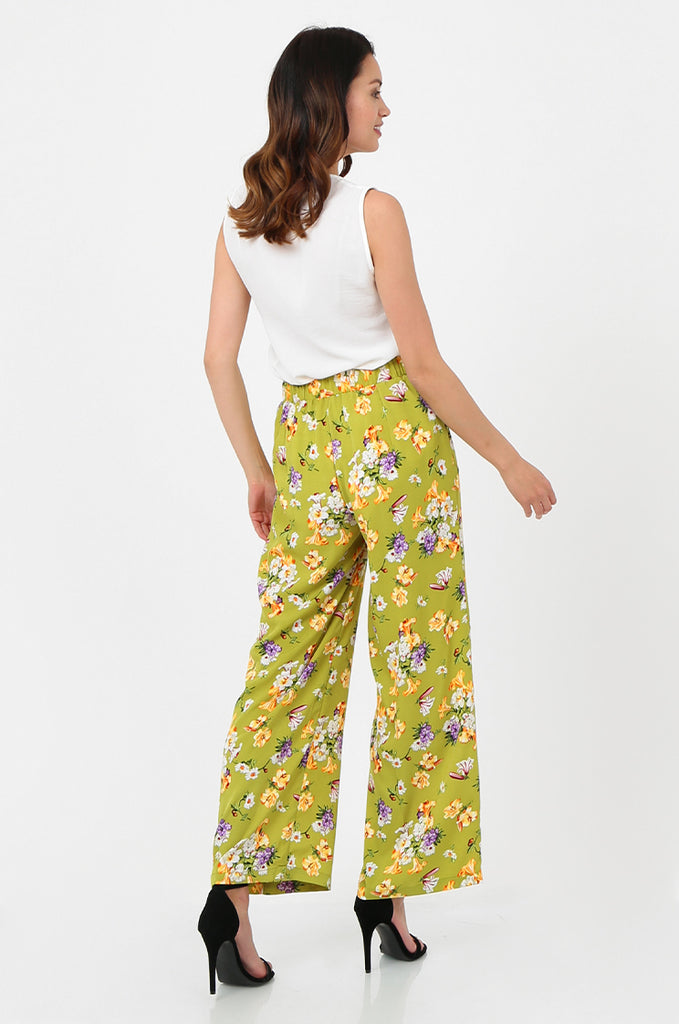 SPS2752-GREEN FLORAL PRINT WIDE LEG TROUSERS view 3