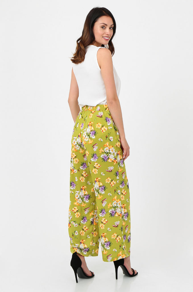 SPS2752-GREEN FLORAL PRINT WIDE LEG TROUSERS view 2