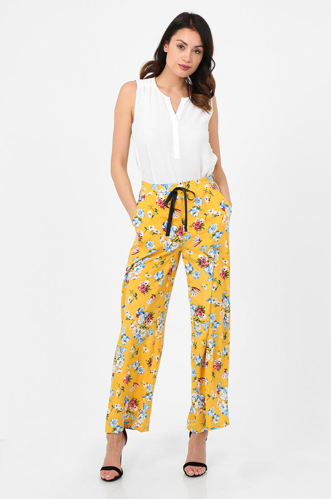 SPS2752-YELLOW FLORAL PRINT WIDE LEG TROUSERS