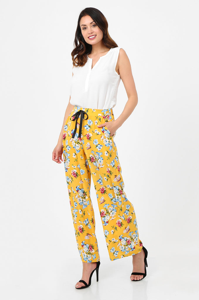 SPS2752-YELLOW FLORAL PRINT WIDE LEG TROUSERS view 2