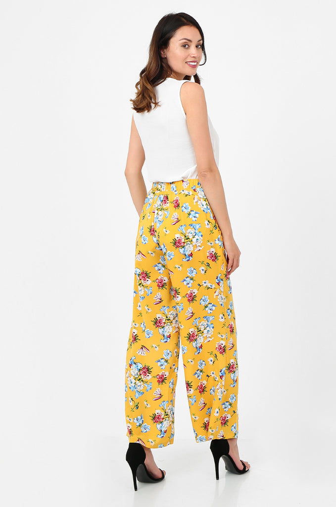 SPS2752-YELLOW FLORAL PRINT WIDE LEG TROUSERS view 3