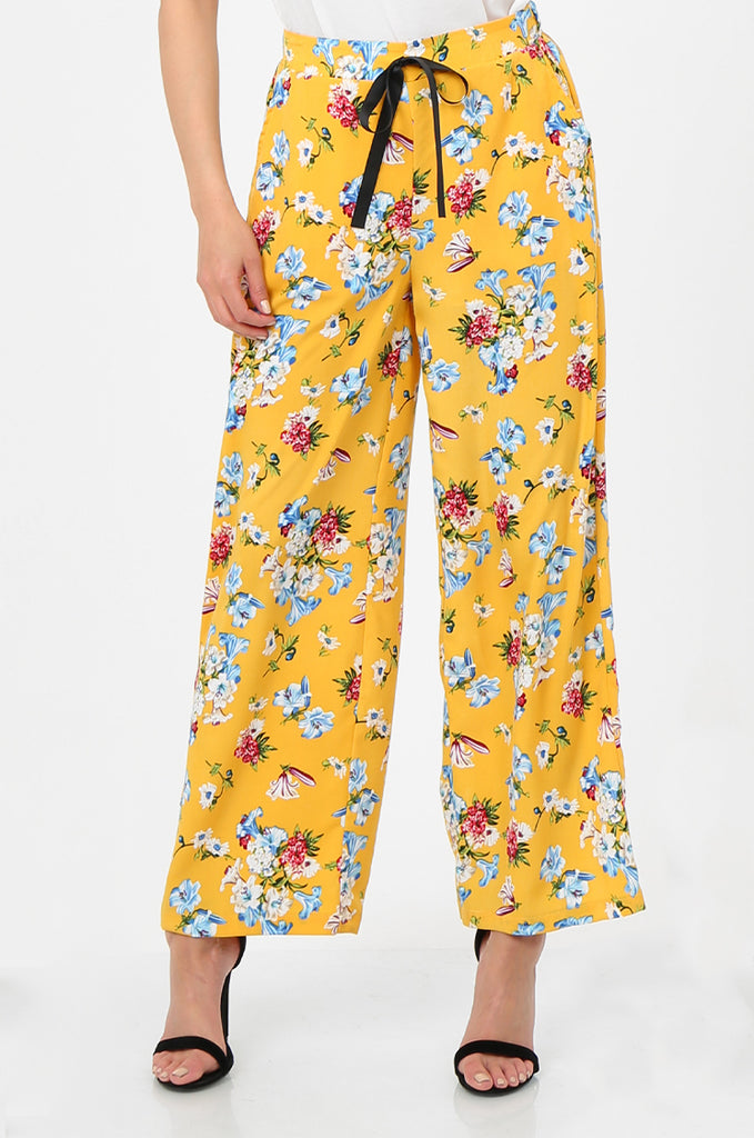 SPS2752-YELLOW FLORAL PRINT WIDE LEG TROUSERS view 4