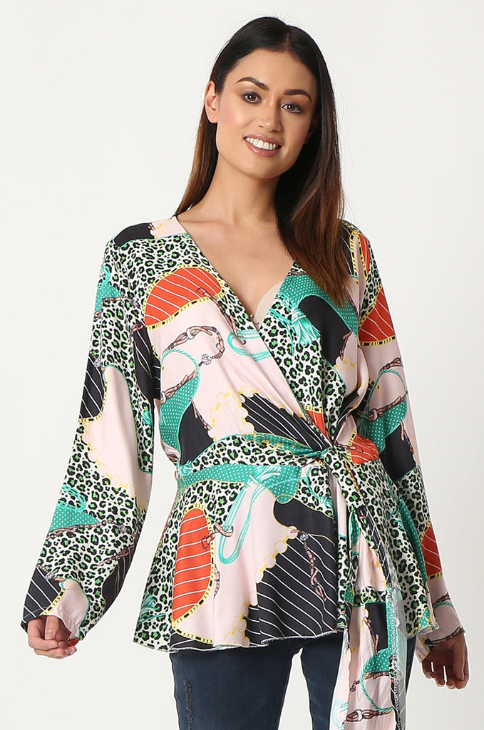 SPS2809-GREEN MULTI PRINT CROSS OVER FRONT BLOUSE
