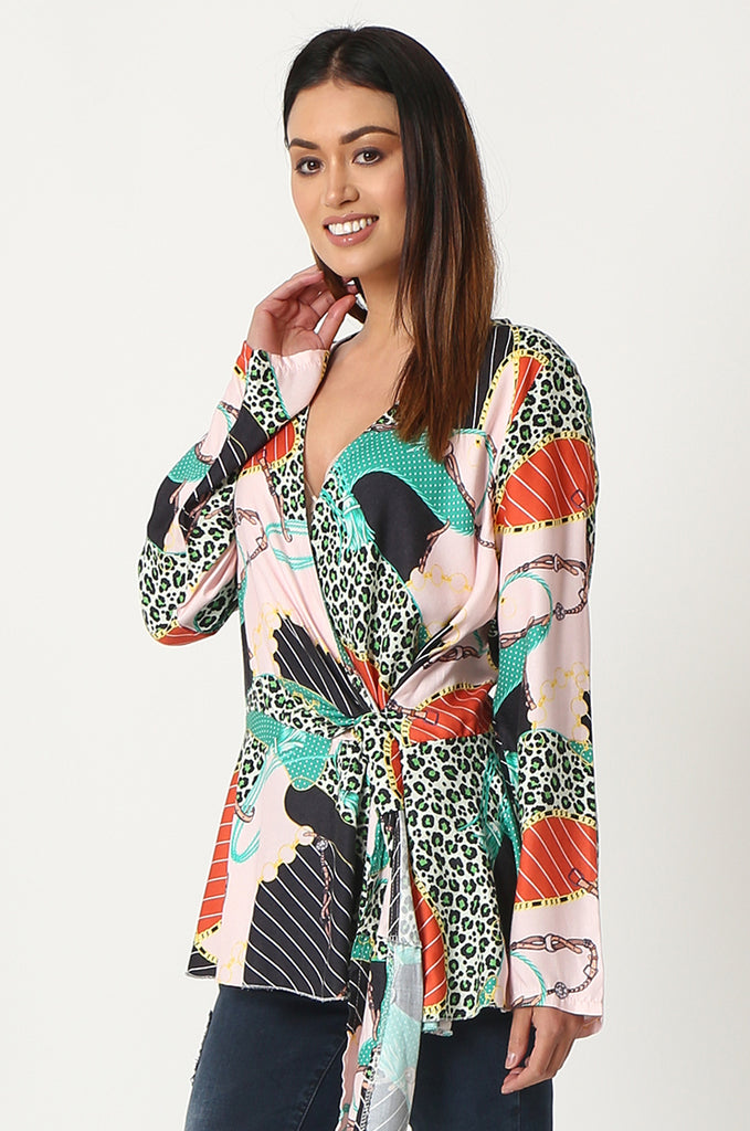 SPS2809-GREEN MULTI PRINT CROSS OVER FRONT BLOUSE view 2