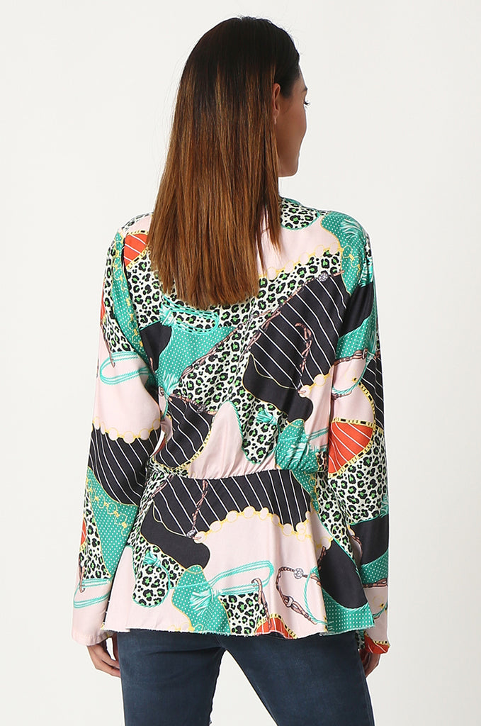 SPS2809-GREEN MULTI PRINT CROSS OVER FRONT BLOUSE view 3