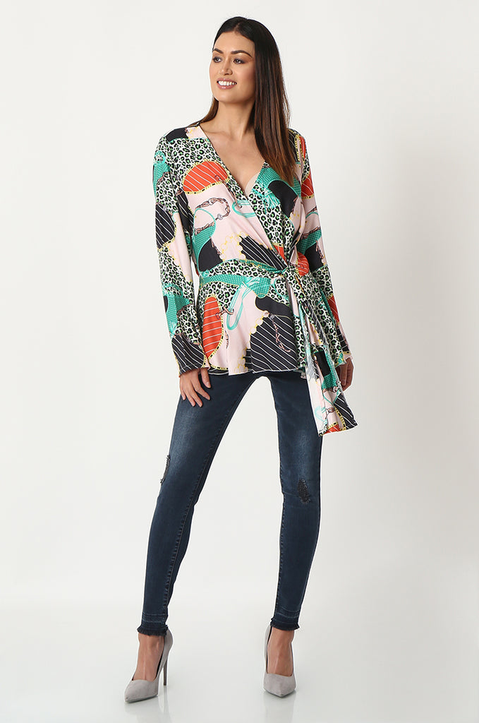 SPS2809-GREEN MULTI PRINT CROSS OVER FRONT BLOUSE view 4