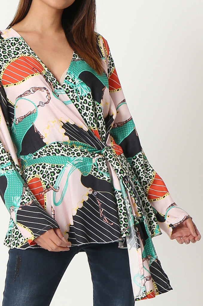 SPS2809-GREEN MULTI PRINT CROSS OVER FRONT BLOUSE view 5
