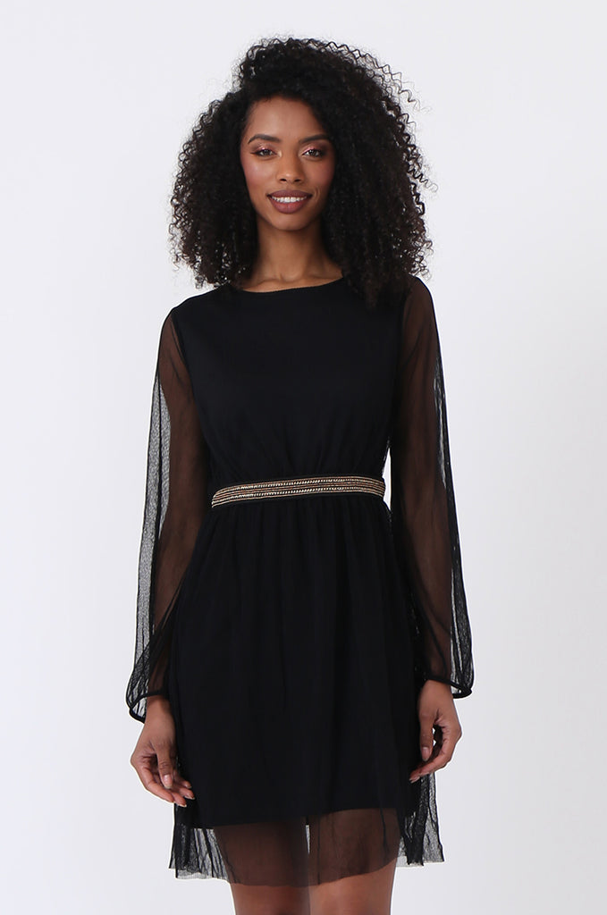 SQC0820-BLACK MESH CHAIN TRIM DRESS view 2