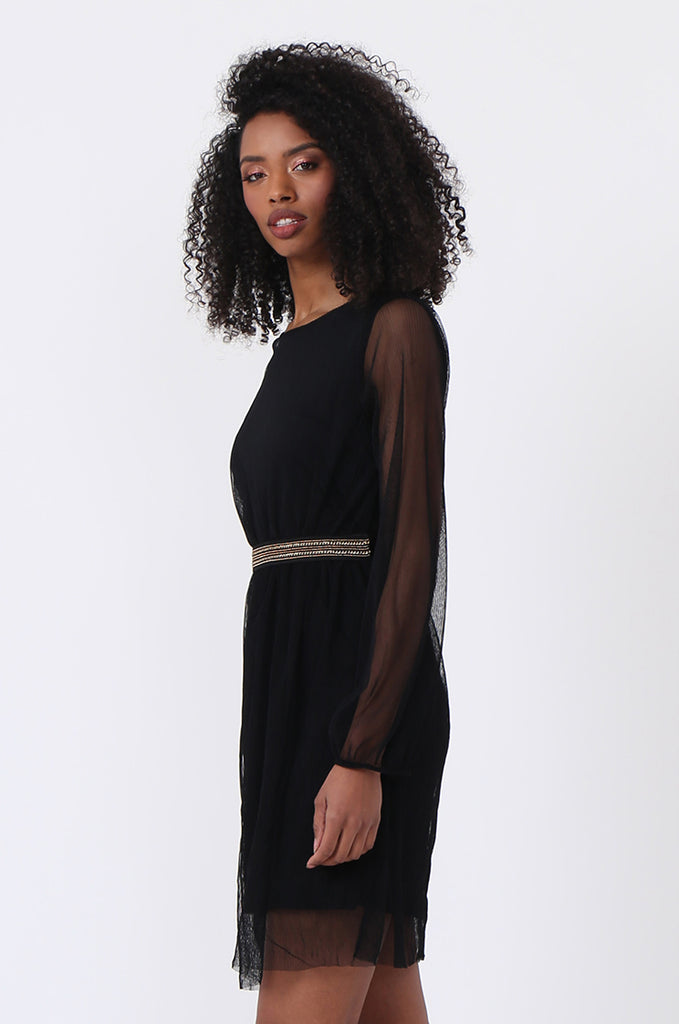 SQC0820-BLACK MESH CHAIN TRIM DRESS view 3