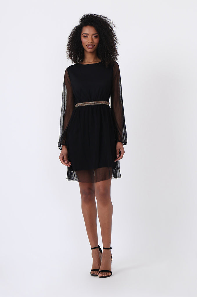 SQC0820-BLACK MESH CHAIN TRIM DRESS