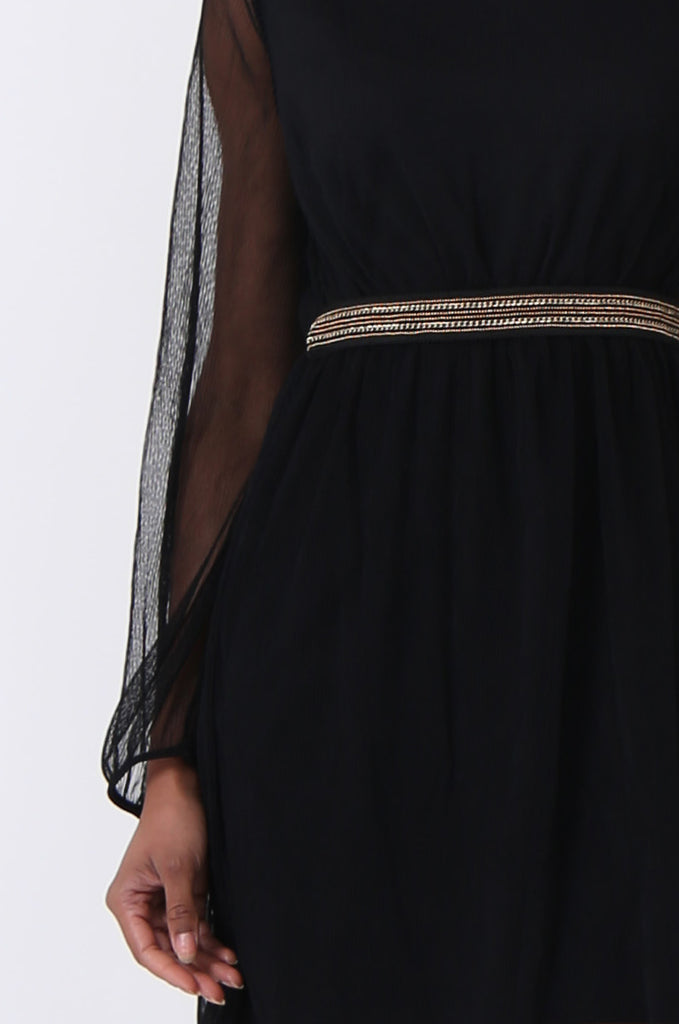 SQC0820-BLACK MESH CHAIN TRIM DRESS view 5
