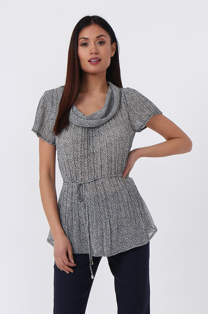 DITZY COWL NECK PLEAT TOP