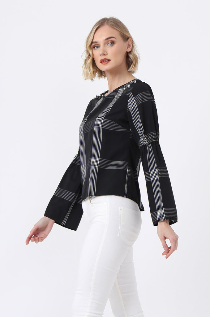 SQC0865-BLACK PEARL BUTTON CHECK TOP view 2