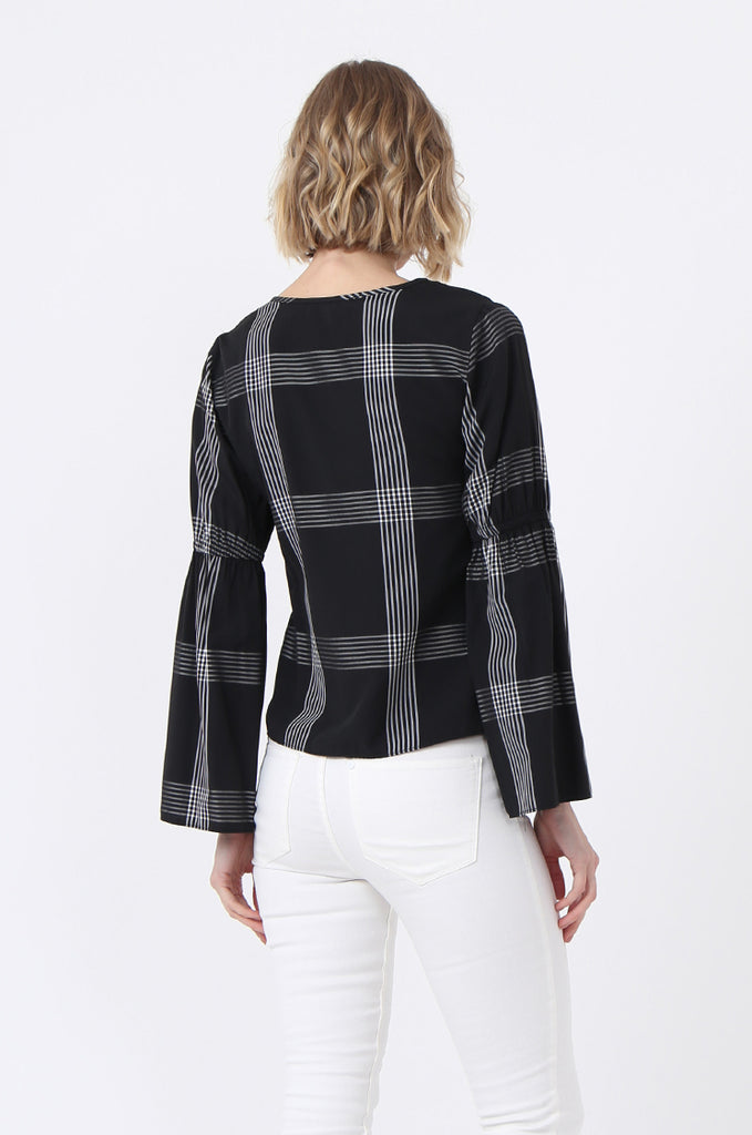 SQC0865-BLACK PEARL BUTTON CHECK TOP view 3