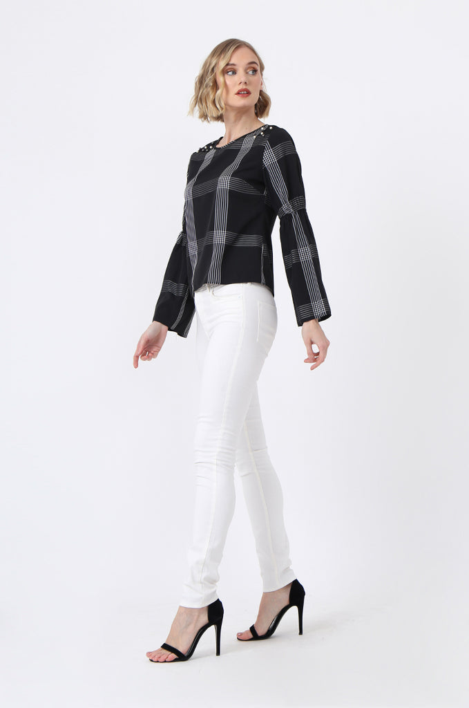 SQC0865-BLACK PEARL BUTTON CHECK TOP view 4