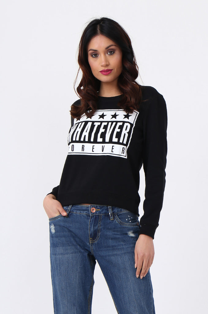 WHATEVER PRINT CROP SWEATSHIRT