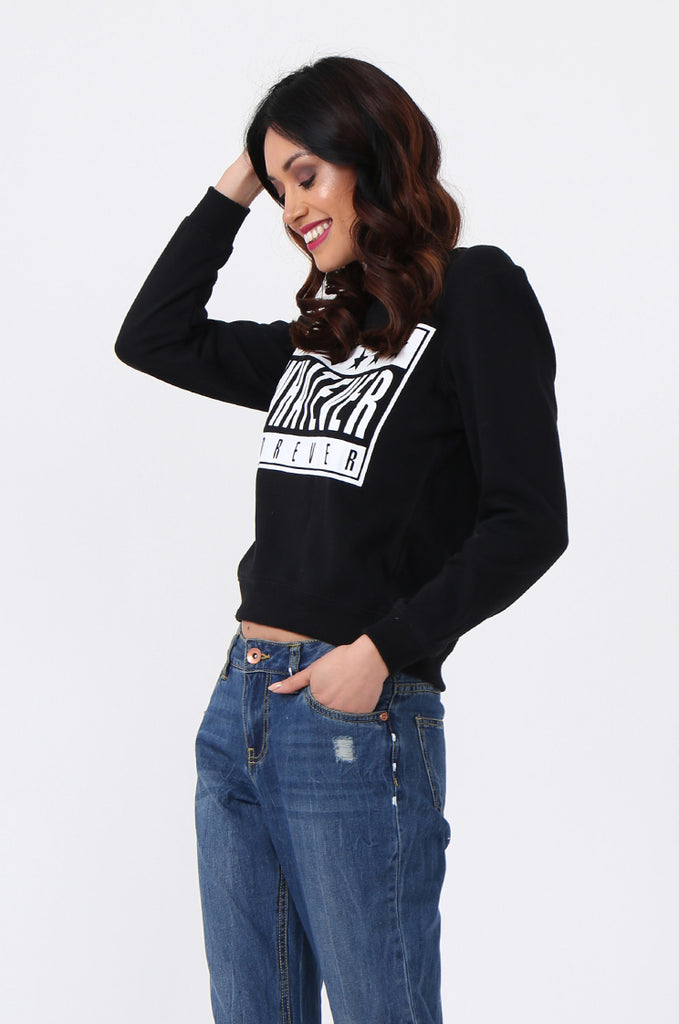 WHATEVER PRINT CROP SWEATSHIRT view 2