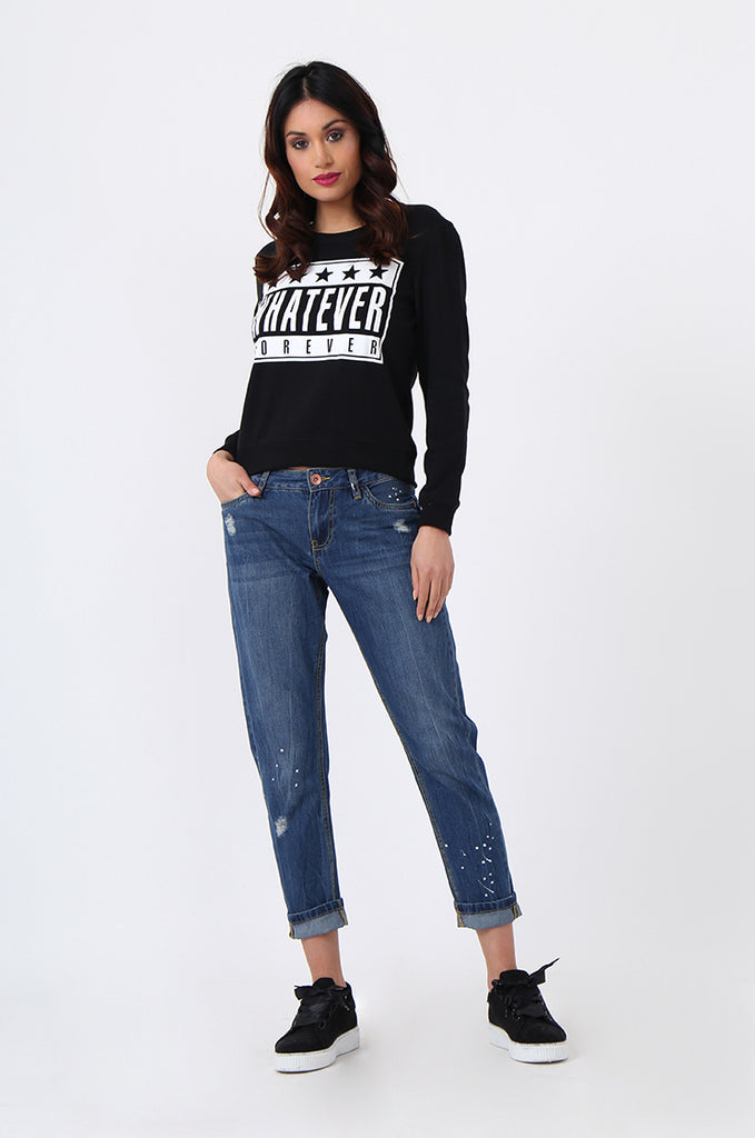 WHATEVER PRINT CROP SWEATSHIRT view 4
