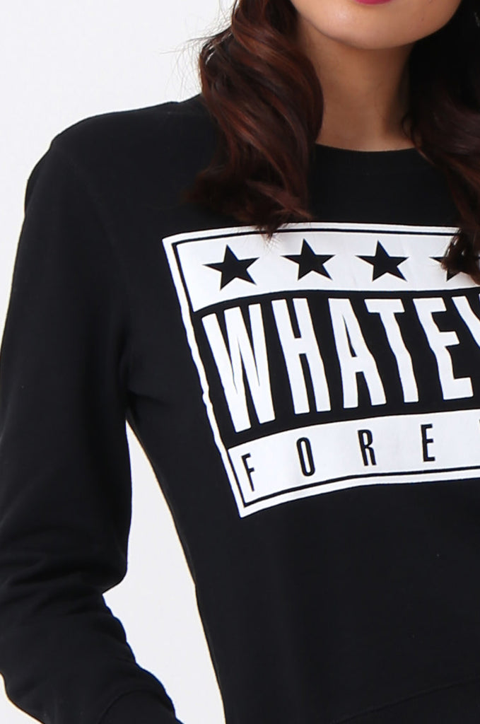 WHATEVER PRINT CROP SWEATSHIRT view 5