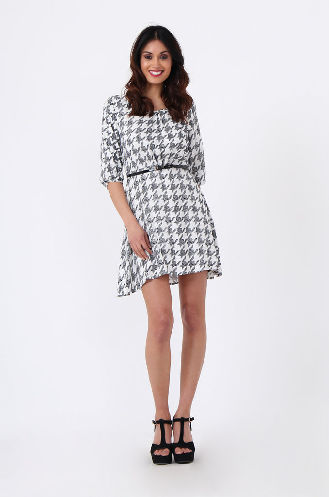 SQC0977-BLACK HOUNDSTOOTH BELTED DRESS