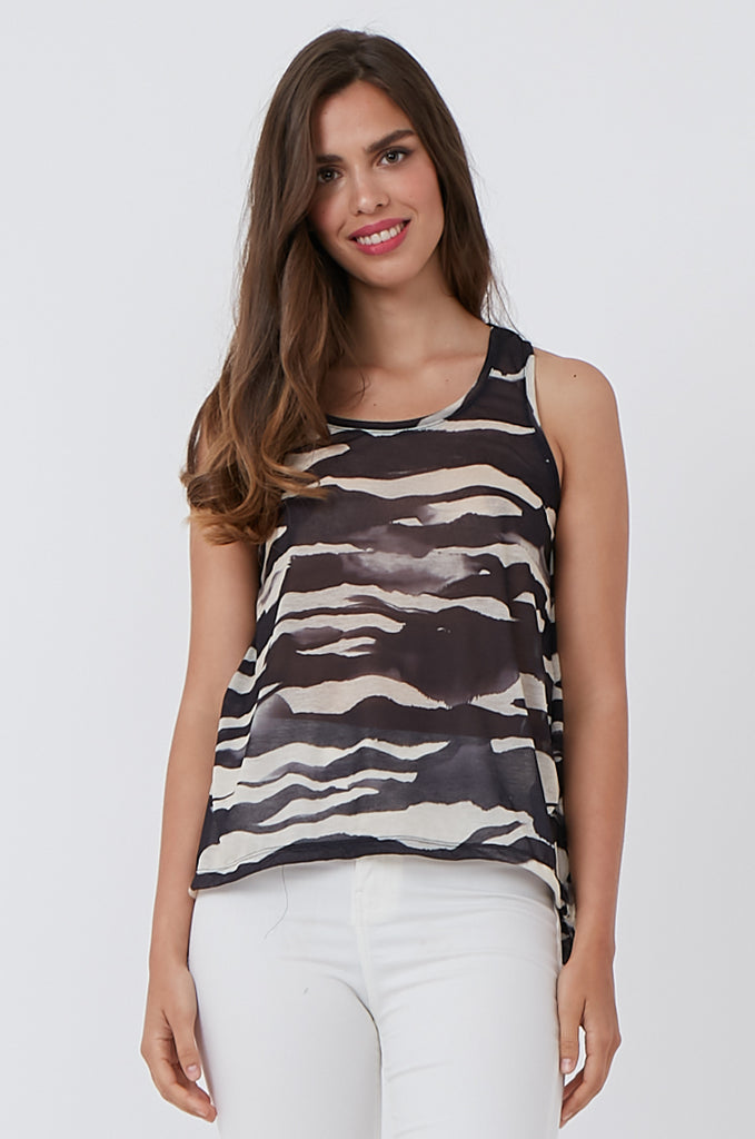 SQC1176-BLACK PRINTED TANK TOP