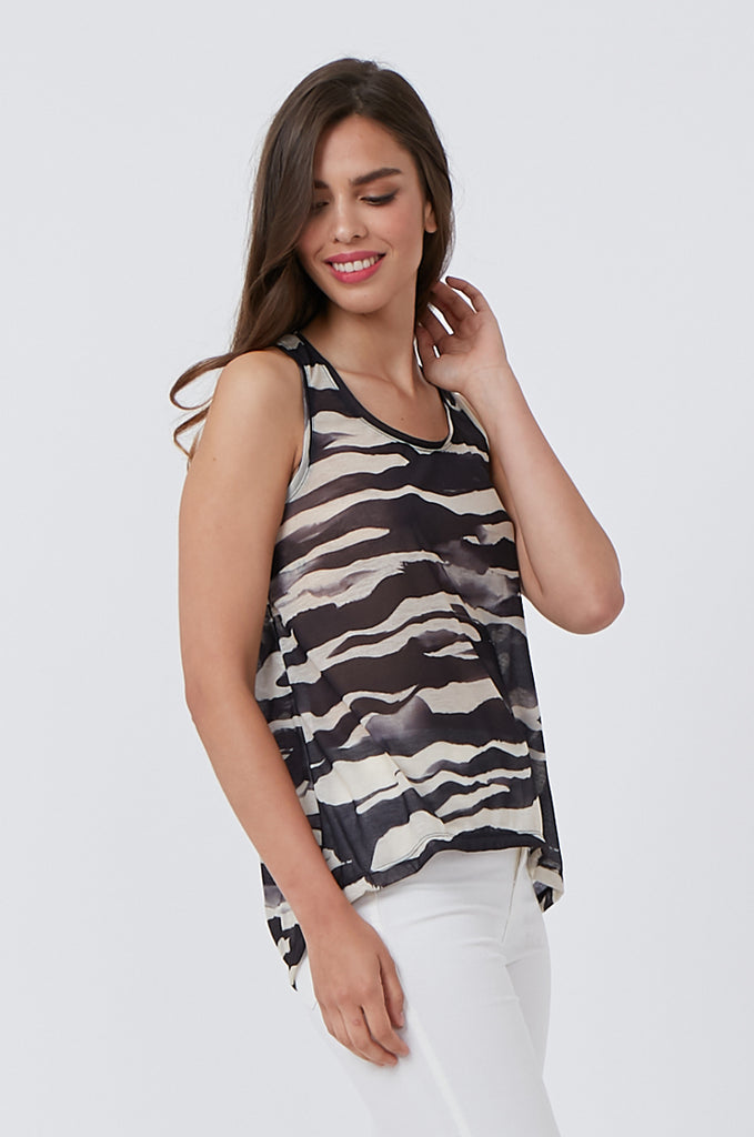 SQC1176-BLACK PRINTED TANK TOP view 2