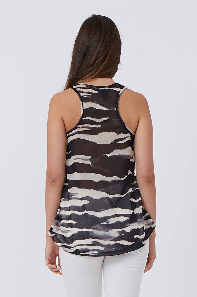 SQC1176-BLACK PRINTED TANK TOP view 3