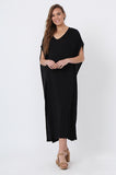 V-NECK RELAXED FIT MAXI DRESS
