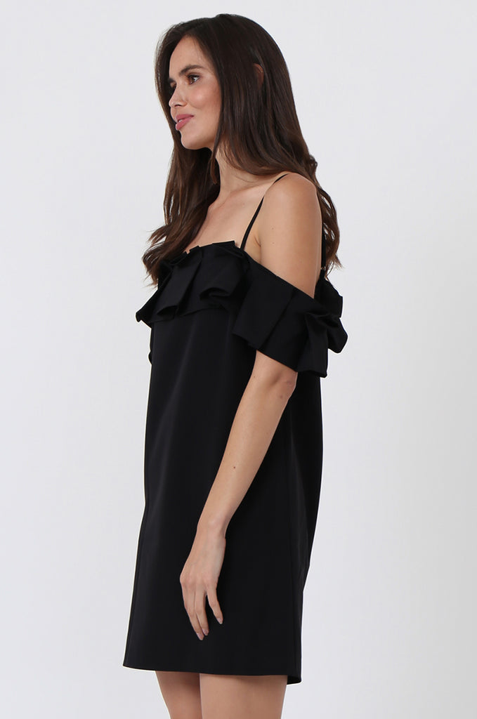 SQC1450-BLACK PLEAT FRONT OFF SHOULDER DRESS view 3