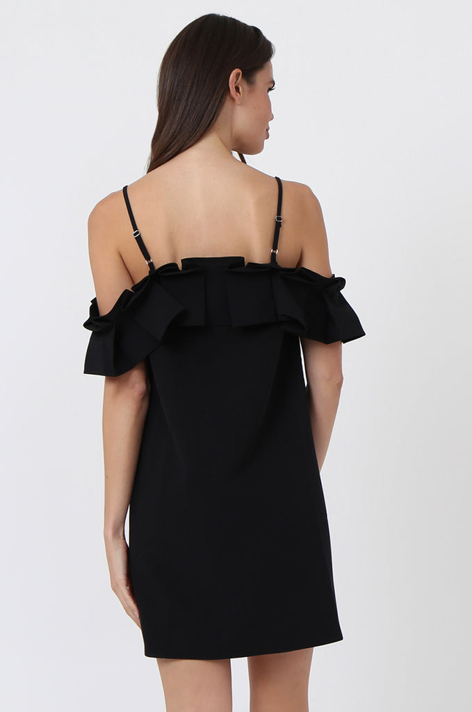 SQC1450-BLACK PLEAT FRONT OFF SHOULDER DRESS view 4
